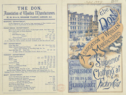 Advert for the Don, Association of Woollen Manufacturers, clothing store
